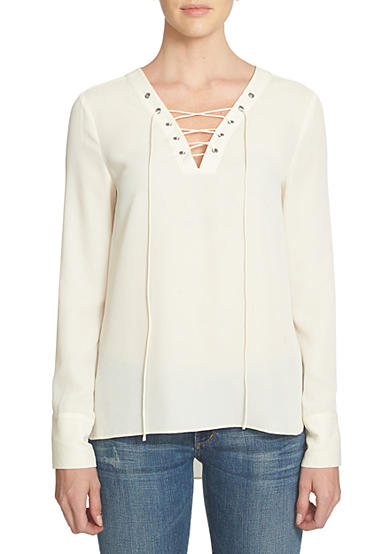 1. State Lace Up High Low Blouse