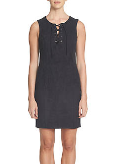 1. State Lace Up Faux Suede Dress