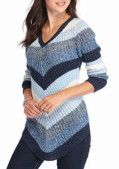 New Directions Ombre Mitered Stripe Sweater