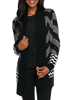 New Directions Chevron Open Front Cardigan