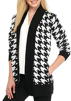 New Directions Houndstooth Open Front Cardigan