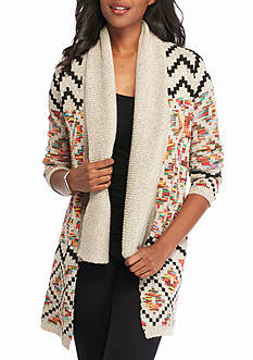 New Directions Patterned Shawl Collar Cardigan