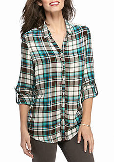 New Directions Weekend Country Girl Lace Trim Plaid Shirt