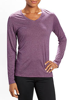 be inspired® Long Sleeve Striped V-Neck Tee