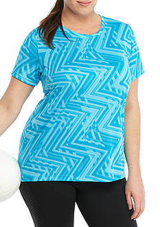 be inspired® Plus Chevron Printed Tee With Scoop Neck