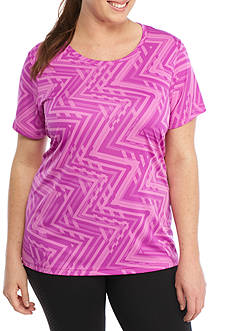 be inspired Plus Chevron Printed Tee With Scoop Neck