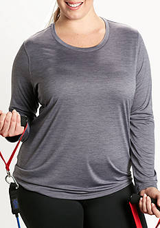 be inspired Plus Size Long Sleeve Scoop Neck Tee