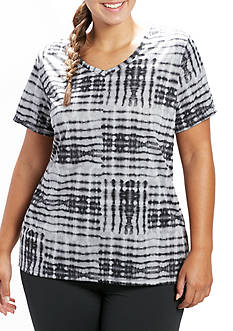 be inspired Plus Size Short Sleeve V Neck Print Tee