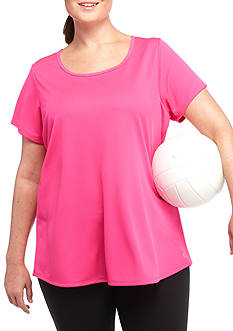 be inspired Plus Size Short Sleeve Cage Back Top