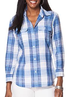 Chaps Plaid Linen-Cotton Workshirt