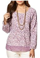 Chaps Floral Long Sleeve Boho Top