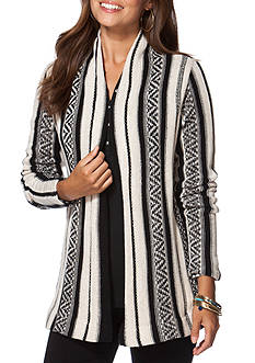 Chaps Striped Open-Front Cardigan