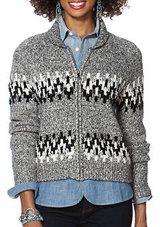 Chaps Patterned Full-Zip Sweater