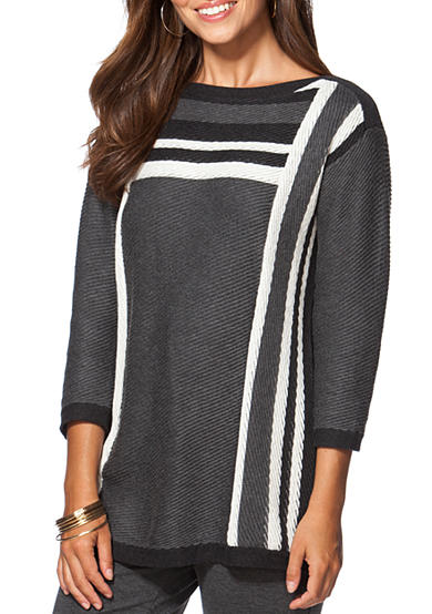 Chaps Textured Striped Sweater