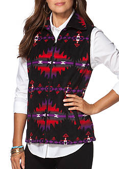Chaps Patterned Fleece Vest