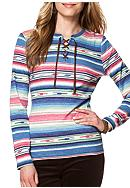 Chaps Stripe Lace-Up Henley Shirt
