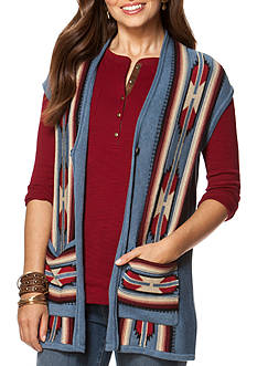 Chaps Patterned Sweater Vest
