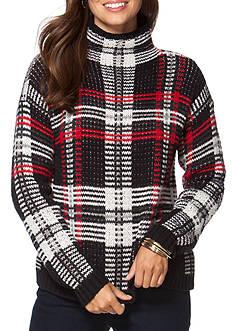 Chaps Plaid Mock Neck Sweater