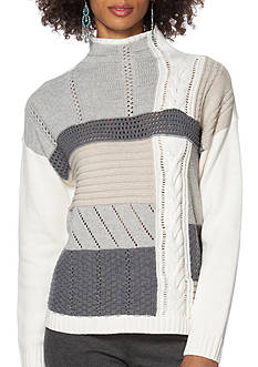Chaps Patchwork Mock Neck Sweater