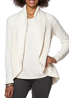Chaps Cable-Knit Open-Front Cardigan