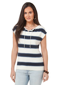 Chaps Striped Lace-Up Sweater