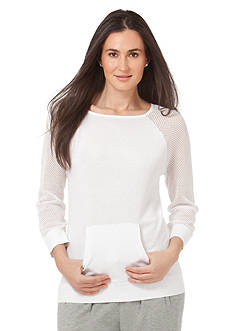 Chaps Mesh-Sleeved Sweater