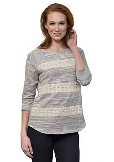 Leo & Nicole 3/4 French Terry Pullover Knit Top