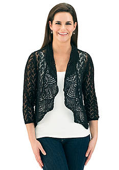 Leo & Nicole Open Stitch Pointelle Cardigan