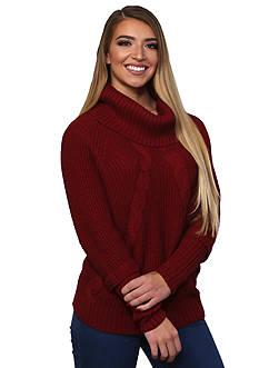 Leo & Nicole Long Sleeve Novelty Yarn Cowl Neck Sweater