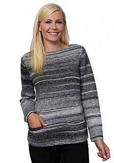 Leo & Nicole Long Sleeve Boat Neck Pullover Sweater with Pockets