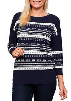Leo & Nicole 3/4 Sleeve Stripe Crew Neck Pullover Sweater