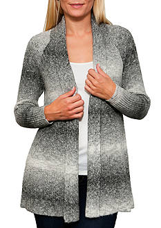 Leo & Nicole Long Sleeve Spacedye Open Cardigan