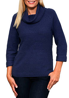 Leo & Nicole Elbow Sleeve Cowl Neck Pullover Sweater