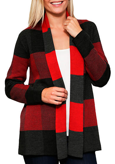 Leo & Nicole Long Sleeve Buffalo Plaid Open Cardigan