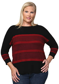 Leo & Nicole Plus Size 3/4 Sleeve Boat Neck Pullover