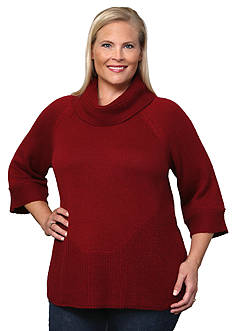 Leo & Nicole Plus Size 3/4 Sleeve Cowl Neck Pullover Sweater