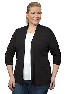 Leo & Nicole Plus Size Tonal Raised Stripe Cardigan