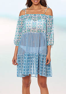 Bleu Rod Beattie Coast to Coast Off The Shoulder Dress Swim Cover Up
