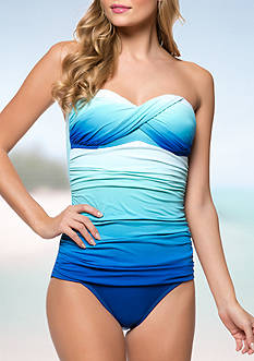 Bleu Rod Beattie Strapless Twisted Front Bandeau One Piece
