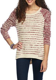 Red Camel Marl Stripe Raglan Sweater