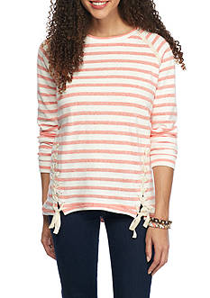 Red Camel Stripe Lace Up Sweatshirt