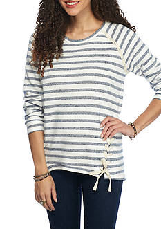 Red Camel Stripe Lace Up Sweatshirt
