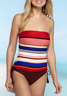 kate spade new york Berber Stripe Bandeau One Piece Swimsuit