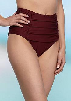 kate spade new york 3D Rose Shirred Front Hi Waist Swim Bottom