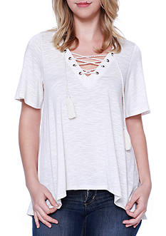 Taylor & Sage Lace Up Top With Crochet Back