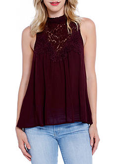 Taylor & Sage High Neck Lace Top