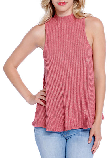 Taylor & Sage Mock Neck Ribbed Swing Top