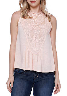 Taylor & Sage Lace High Neck Swing Top