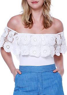 Taylor & Sage Off-The-Shoulder Crochet Top Bodysuit