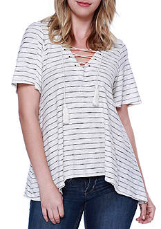 Taylor & Sage Stripe Lace Up Top With Crochet Back